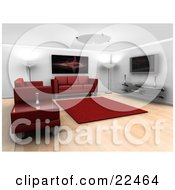 Modern Living Room Interior With Ceiling And Floor Lamps A Red Fractal Art Piece Hanging On The Wall A Red Rug Entertainment Center Red Leather Couches And A Table