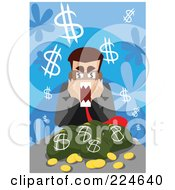 Businessman Screaming Over Money Bags