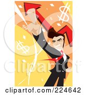 Businessman Pointing Up Over Arrows And Dollar Symbols