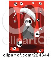 Royalty Free RF Clipart Illustration Of A Spooky Ghost With A Scythe And Skulls With Blood by mayawizard101