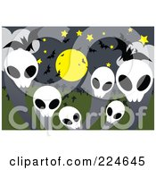 Royalty Free RF Clipart Illustration Of Skull Ghosts With Bats And A Full Moon by mayawizard101