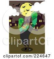 Royalty Free RF Clipart Illustration Of Frankenstein By A Village Under Bats