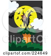 Royalty Free RF Clipart Illustration Of A Demonic Creature On A Tree Against A Full Moon With Bats