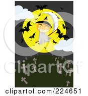 Royalty Free RF Clipart Illustration Of A Jackolantern Grim Reaper With A Full Moon And Bats Above A Cemetery by mayawizard101