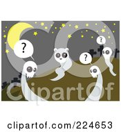 Royalty Free RF Clipart Illustration Of An Animal Ghost Being Observed By Skull Ghosts In A Cemetery