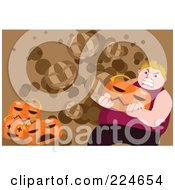 Royalty Free RF Clipart Illustration Of A Crazy Fat Man Carrying A Jackolantern by mayawizard101