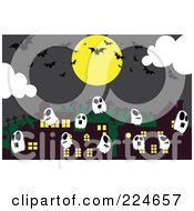 Royalty Free RF Clipart Illustration Of Ghosts And Bats By Buildings Under A Full Moon