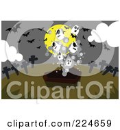 Royalty Free RF Clipart Illustration Of Ghosts Emerging From A Coffin With Bats Tombstones And A Full Moon