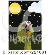 Royalty Free RF Clipart Illustration Of A Zombie Hand Holding An Eyeball In A Cemetery
