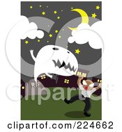 Royalty Free RF Clipart Illustration Of A Ghost Popping Out Of A Grave And Scaring A Man