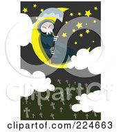 Royalty Free RF Clipart Illustration Of A Grim Reaper Sitting On A Moon Above A Cemetery by mayawizard101
