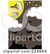 Royalty Free RF Clipart Illustration Of A Jackolantern Grim Reaper And Bats Above Houses by mayawizard101