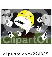 Royalty Free RF Clipart Illustration Of Spooky Ghosts Headstones And A Coffin With Bats And A Full Moon