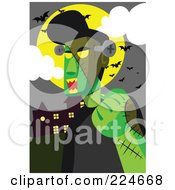 Royalty Free RF Clipart Illustration Of Frankenstein Under A Full Moon And Bats