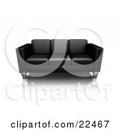Modern Black Leather Sofa With Chrome Legs Resting On A Reflective White Surface