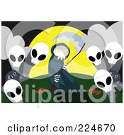 Royalty Free RF Clipart Illustration Of A Grim Reaper Holding A Scythe By Ghosts In A Cemetery by mayawizard101