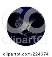 Royalty Free RF Clipart Illustration Of A 3d Earth With North America Lit Up At Night by oboy