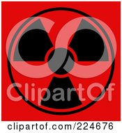 Royalty Free RF Clipart Illustration Of A Black And Red Radiation Symbol On Red