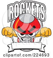 Royalty Free RF Clipart Illustration Of A Rocket Mascot Cartoon Character School Logo With A Blank Banner by Toons4Biz