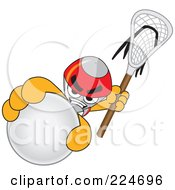Royalty Free RF Clipart Illustration Of A Rocket Mascot Cartoon Character Grabbing A Lacrosse Ball by Toons4Biz