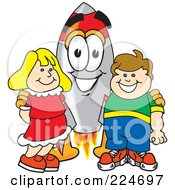 Royalty Free RF Clipart Illustration Of A Rocket Mascot Cartoon Character With School Children by Toons4Biz