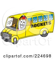 Royalty Free RF Clipart Illustration Of A Rocket Mascot Cartoon Character Driving A Rockets School Bus