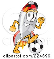 Royalty Free RF Clipart Illustration Of A Rocket Mascot Cartoon Character Playing Soccer by Toons4Biz
