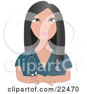 Clipart Illustration Of A Confident Female Asian Doctor Nurse Or Veterinarian With Long Black Hair Wearing Teal Scrubs And A Stethoscope Around Her Neck Facing Front