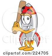 Royalty Free RF Clipart Illustration Of A Rocket Mascot Cartoon Character Playing Baseball by Toons4Biz