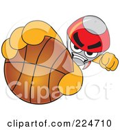Royalty Free RF Clipart Illustration Of A Rocket Mascot Cartoon Character Grabbing A Basketball by Toons4Biz