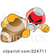 Royalty Free RF Clipart Illustration Of A Rocket Mascot Cartoon Character Grabbing A Football by Toons4Biz