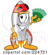 Royalty Free RF Clipart Illustration Of A Rocket Mascot Cartoon Character Holding Money by Toons4Biz