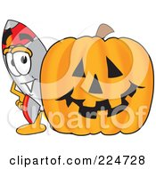 Royalty Free RF Clipart Illustration Of A Rocket Mascot Cartoon Character With A Halloween Pumpkin by Toons4Biz