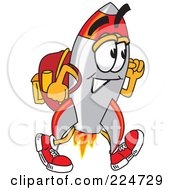Royalty Free RF Clipart Illustration Of A Rocket Mascot Cartoon Character Student Walking by Toons4Biz