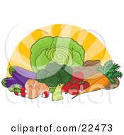 Clipart Illustration Of A Food Still Life Of Iceberg Lettuce Broccoli Radishes Onions Eggplants Tomatoes Potatoes And Carrots With A Surnburst Background by Maria Bell