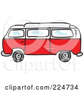 Royalty Free RF Clipart Illustration Of A Red Camper Van by Prawny