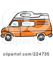 Royalty Free RF Clipart Illustration Of An Orange Camper Van