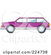Royalty Free RF Clipart Illustration Of A Side View Of A Purple Station Wagon Car