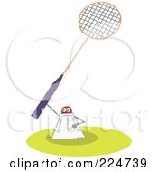 Royalty Free RF Clipart Illustration Of A Shuttlecock Holding Up A Racket