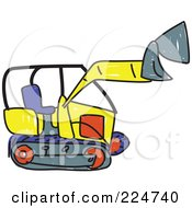 Royalty Free RF Clipart Illustration Of A Sketched Bulldozer by Prawny