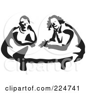 Black And White Thick Line Drawing Of Men At A Table