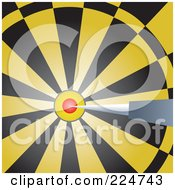 Royalty Free RF Clipart Illustration Of A Dart In The Bullseye Of A Yellow And Black Dart Board by Prawny