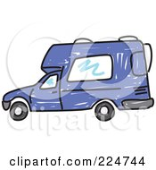 Royalty Free RF Clipart Illustration Of A Blue Camper Van