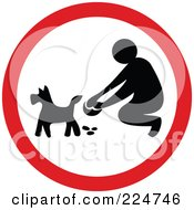 Red And White Round Pooper Scooper Sign
