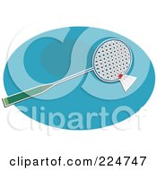 Royalty Free RF Clipart Illustration Of A Badminton Racket And Shuttlecock On A Blue Oval