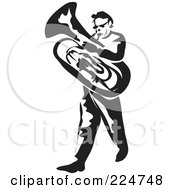 Royalty Free RF Clipart Illustration Of A Black And White Thick Line Drawing Of A Man Playing A Tuba