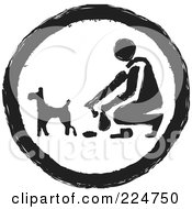 Royalty Free RF Clipart Illustration Of A Black And White Round Pooper Scooper Sign