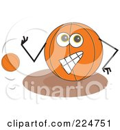 Royalty Free RF Clipart Illustration Of A Basketball Character Bouncing A Ball by Prawny