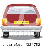 Royalty Free RF Clipart Illustration Of A Rear View Of A Red Car