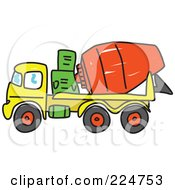 Royalty Free RF Clipart Illustration Of A Sketched Yellow Green And Red Cement Mixer